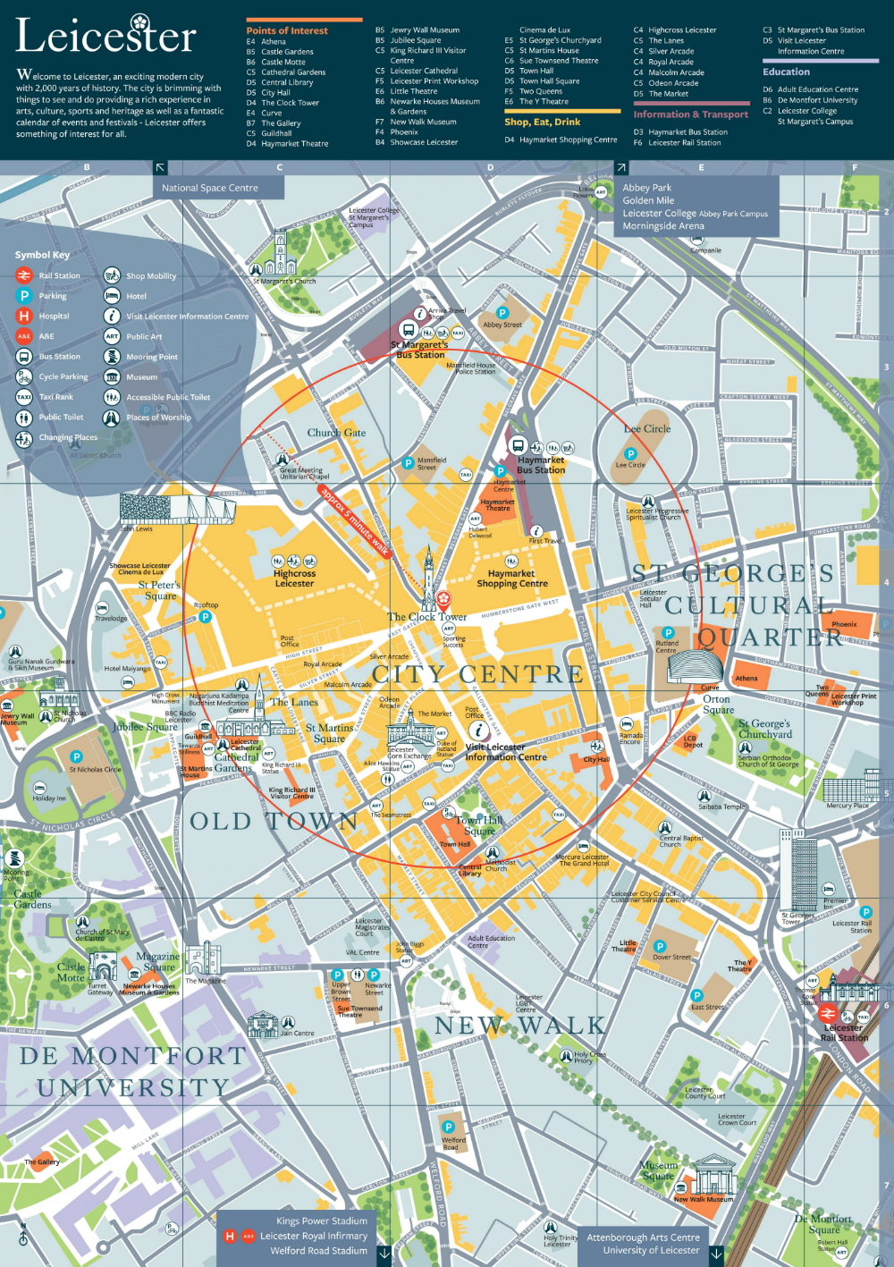 London Points Of Interest Map.City Map Visit Leicester