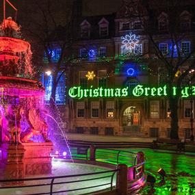 town hall square at christmas