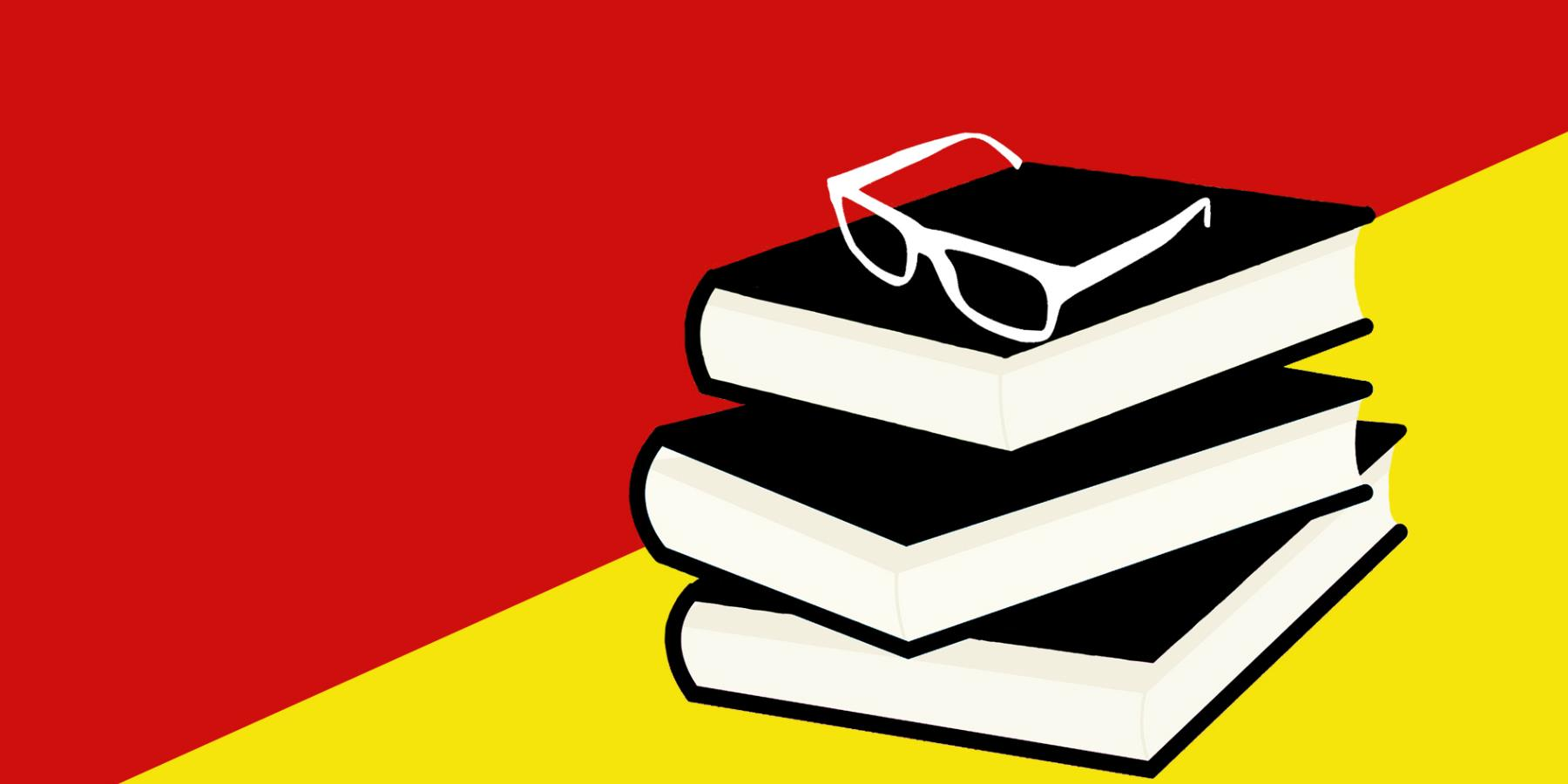 A pair of glasses on top of a pile of books on a red and yellow background.