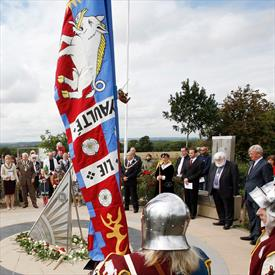 Rose laying ceremony at Bosworth Battlefield, Leicestershire